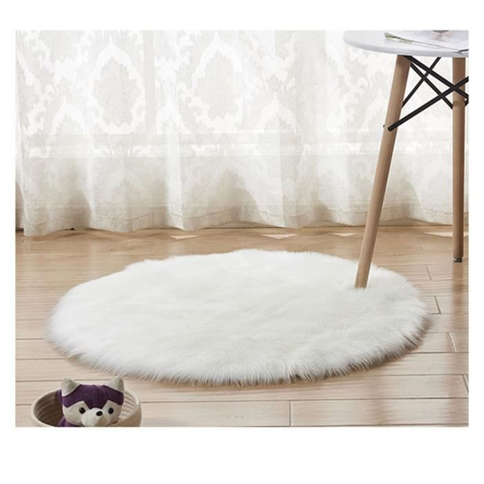 Tapis Rond en Fausse Fourrure, comme véritable Laine Tapis, Man-Made Luxe Laine Tapis de Canapé Coussin Blanc 50*50cm