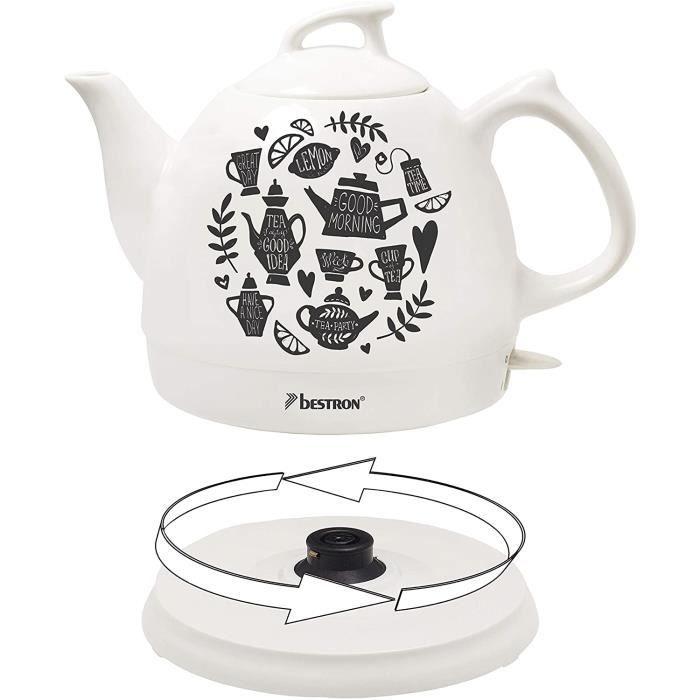 Bestron Bouilloire électrique rétro, 0,8 L, Env. 1800 W, Céramique, Imprimé : Tea Party