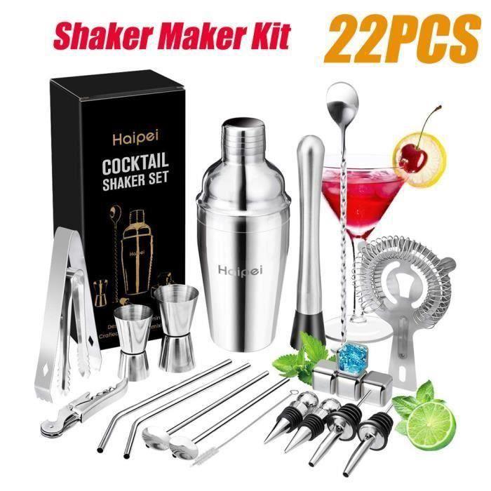 22pcs Cocktail Shaker Mélangeur Outils Avec Pierres de Whisky En Acier Inoxydable 550ML L49559