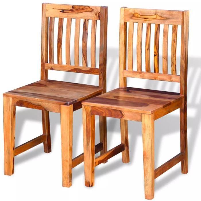 ♫4713 Lot de 2 Chaise de salle à manger Design & Chic - Ensemble de 2 chaises - Bois massif de sesham MMCZ®
