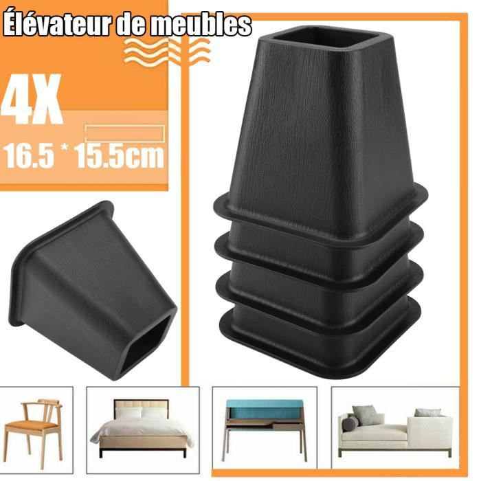 4X Pied de meubles Riser de fourniture Réhausseur de meuble Lit / Table / Bureau / Canapé/Chaise noir - CYA