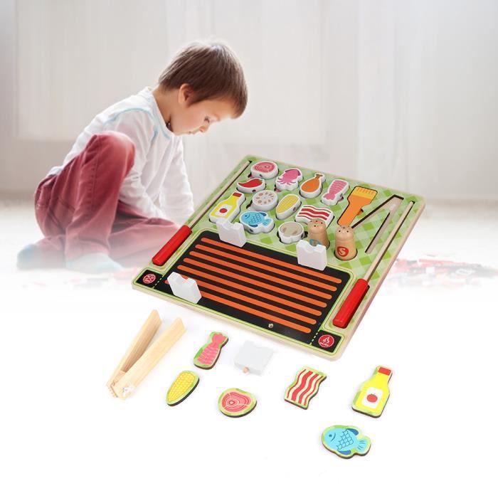 Jouets de coupe de Simulation magnétique en bois cuisine fruits barbecue supermarché pour enfants (jouets de barbecue) HB058