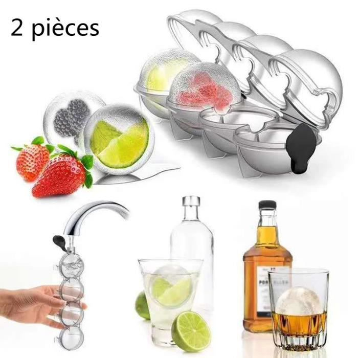 Boîte de moule à glace 4 trous, machine à glaçons, bar, whisky, cercle, cocktail, ustensiles de cuisine (2 pièces)