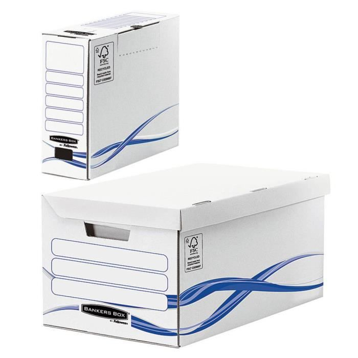 Pack : 1 caisses maxi + 6 boîtes archives dos 8 cm FELLOWES Basic - Blanc