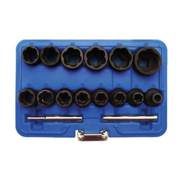 Jeu de douilles speciales / extracteur de vis cassées 12,5 mm (1/2-) 8 - 27 mm 16 pièces