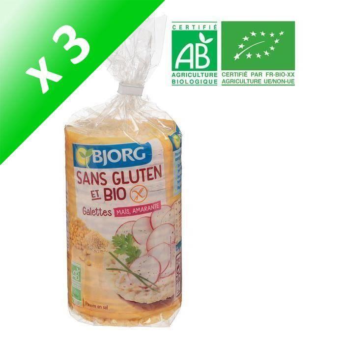 BJORG Galettes Maïs, Amarante Sans Gluten Bio (Lot de 3x 150 g)