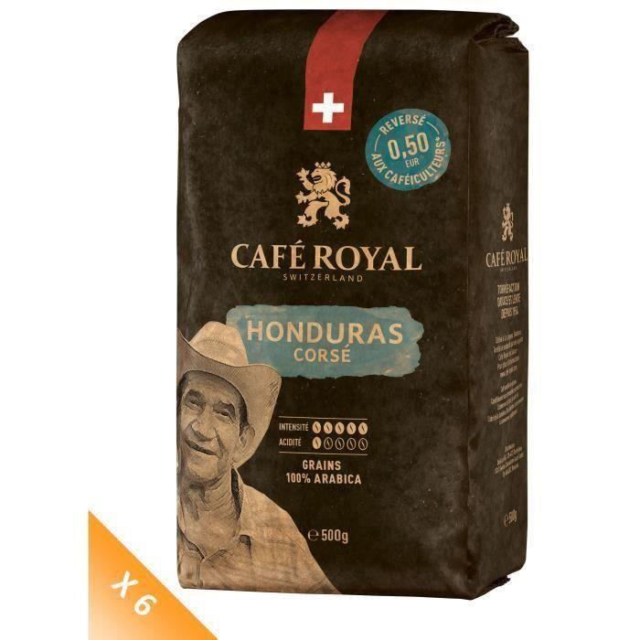Lot de 6 CAFE ROYAL Grain Honduras Corsé x500g