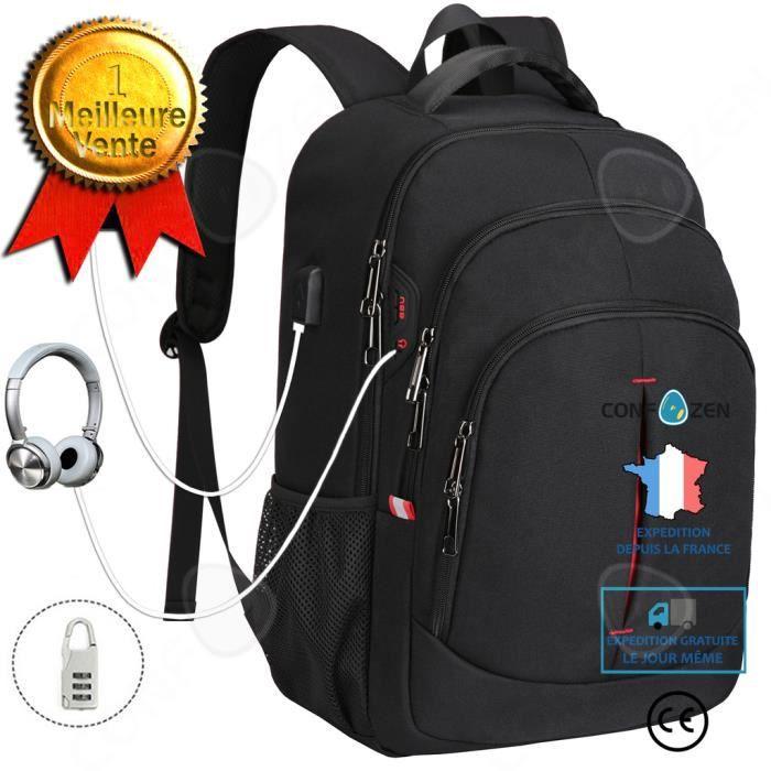CONFO® Sac à dos voyage d'affaires multifonction en tissu Oxford sac d'école pour ordinateur portable sac d'ordinateur 15,6 pouces