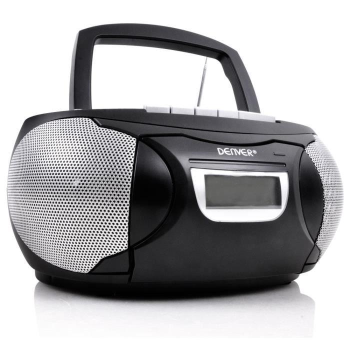 Chaîne hi-fi stéréo lecteur laser CD AUX magnétophone à cassette boombox noir