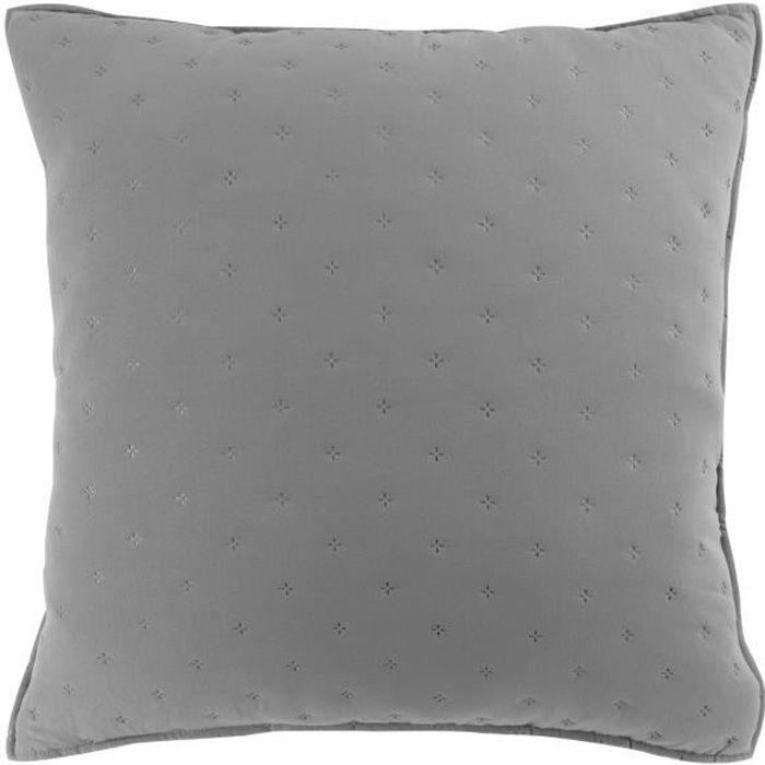 CDaffaires Housse de coussin 60 x 60 cm microfibre bicolore Mellow chic Gris-blanc