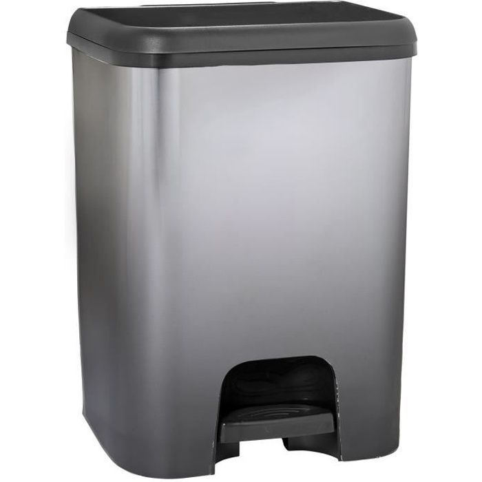 KITCHEN MOVE Poubelle de cuisine à pédale SEATTLE - Plastique aspect métal - 30 l - Noir