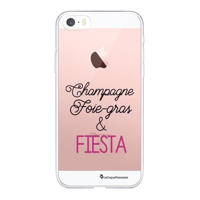 Coque iPhone 5/5S/SE 360 intégrale transparente Champagne Foie gras et Fiesta Ecriture Tendance Design La Coque Francaise