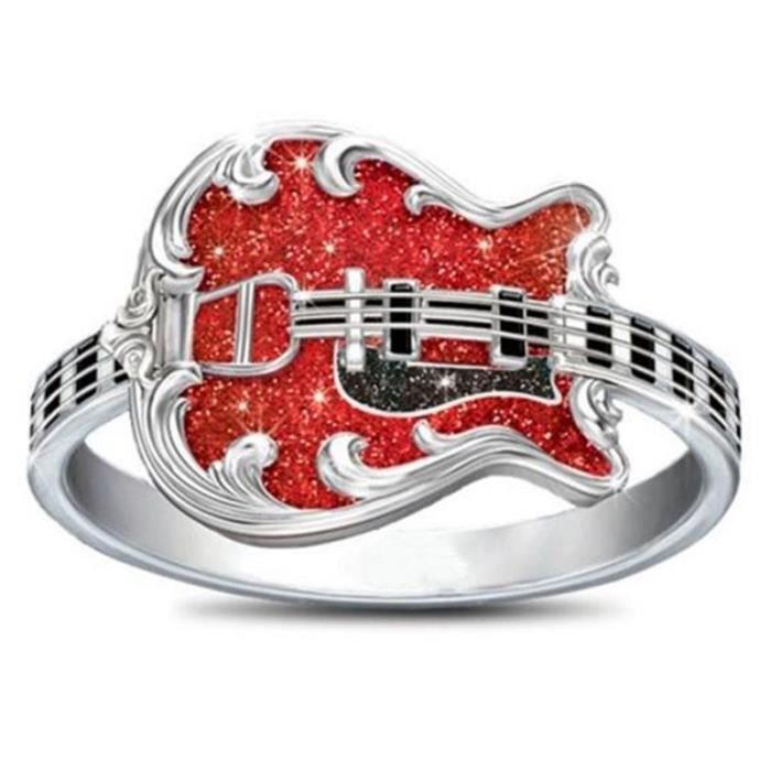 Bague Argent 925 Guitare Diamant Anneau Bijoux
