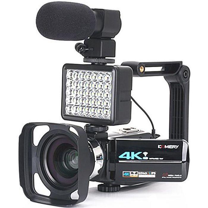 BGFAX ouvelle version caméscope vidéo 4K WiFi 48MP écran tactile de lumière de remplissage intégré pour appareil photo numérique vid