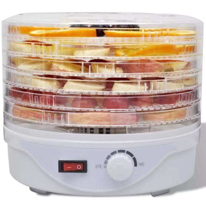 Déshydrateur avec 6 Plateaux empilables (Rond)pour cuisine famille aliments santé