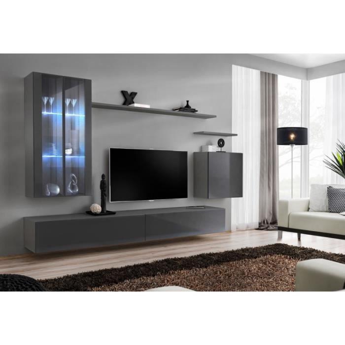 Meuble Tv Mural Design -switch Xii- 270cm Gris - Paris Prix