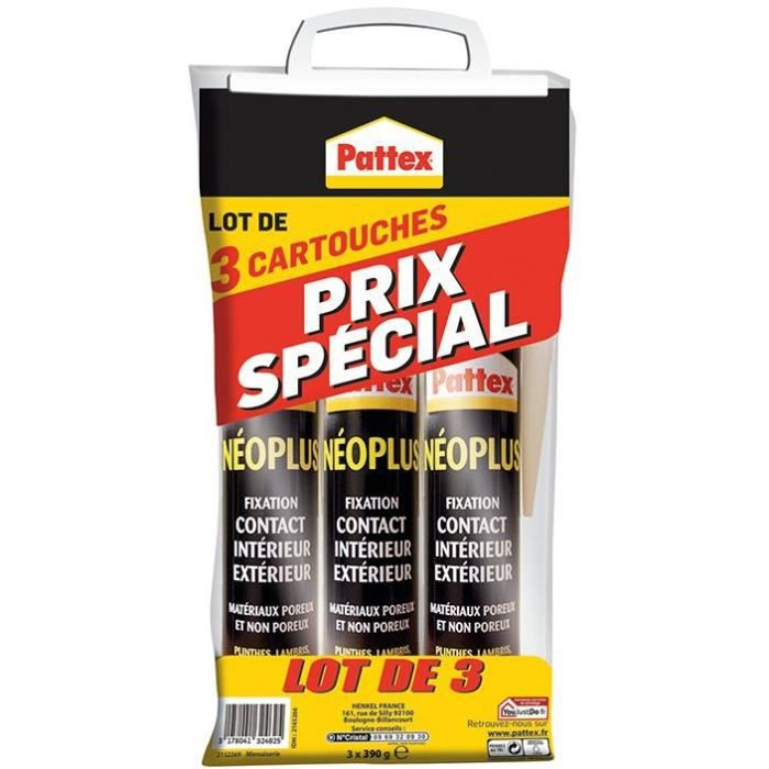 Pattex fixation néo + lot de 3 cart 390g
