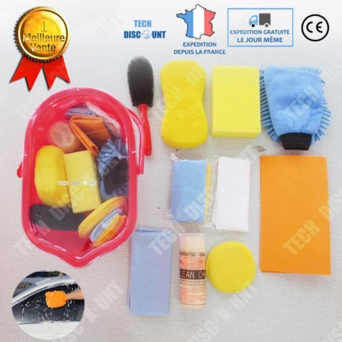 TD® Kit de nettoyage voiture interieur lavage auto extérieur moto camion gant microfibres brosse cirage vitre doux mousse souple