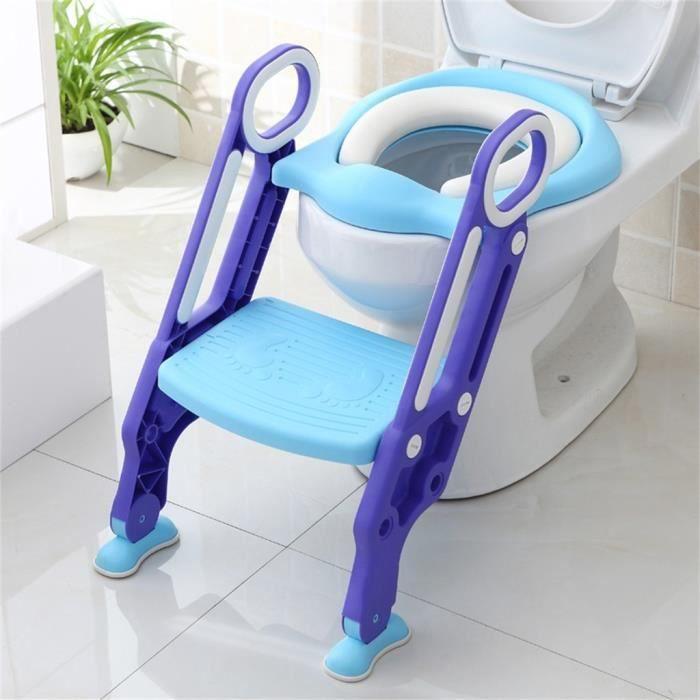 Siège de Toilette Enfant Bébé Marche pliable Réducteur de WC Pot éducatif Lunette douce confortable Bleu-vert VINTEKY®