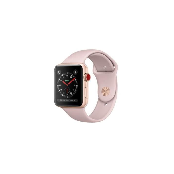 c0b4d0d458aad APPLE Watch Series 3 GPS + Cellular - Boîtier 42 mm Or Aluminium - Bracelet  Sport Rose sable