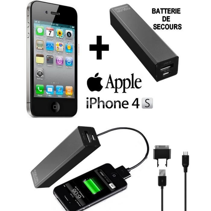 pack power apple iphone 4s noir 16go batterie achat. Black Bedroom Furniture Sets. Home Design Ideas