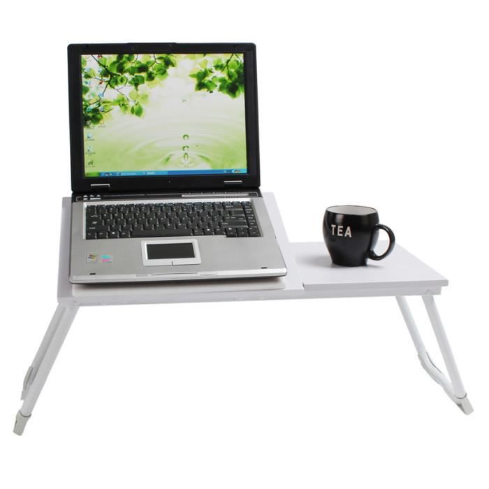 Support table de lit pour ordinateur portable blanc - Support pour ordinateur portable lit ...