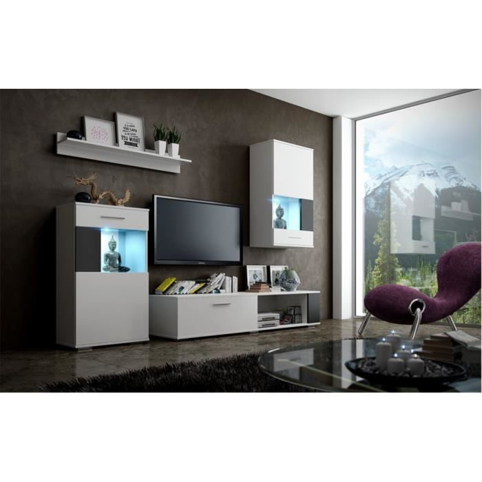 meuble de salon meuble tv complet pino corps blanc mat. Black Bedroom Furniture Sets. Home Design Ideas