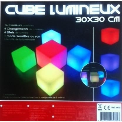 cube lumineux led sans fil t l commande ext rieur ou int rieur achat vente d coration. Black Bedroom Furniture Sets. Home Design Ideas