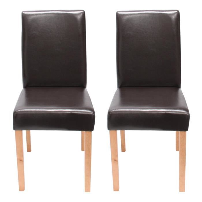 2x chaises de salon en cuir littau marron achat vente chaise cdiscount. Black Bedroom Furniture Sets. Home Design Ideas