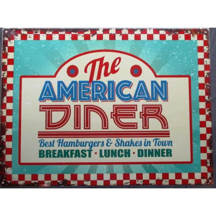 Plaque pub american diner d co usa affiche tole achat for Decoration murale usa