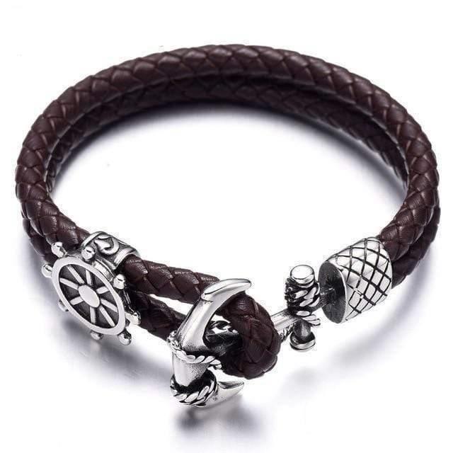 BRACELET - GOURMETTE Bracelet homme Ancre-cuir tressé-Acier inoxydable1