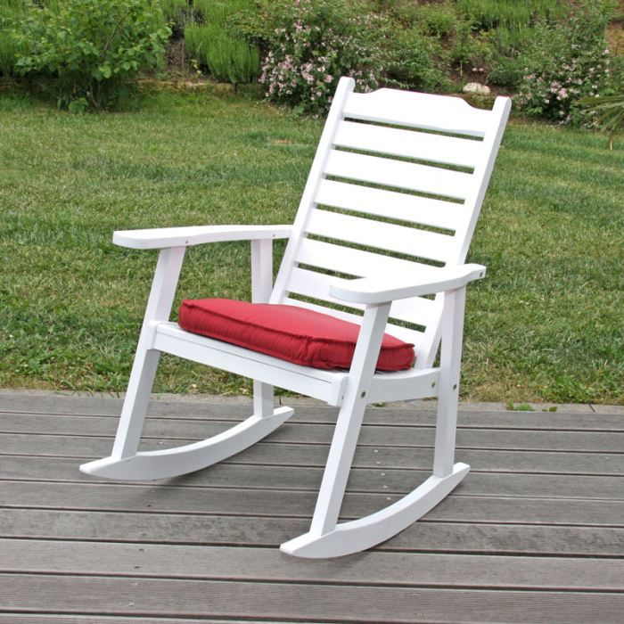 Rocking chair louth en bois peint coloris blanc achat for Rocking chair blanc chambre bebe