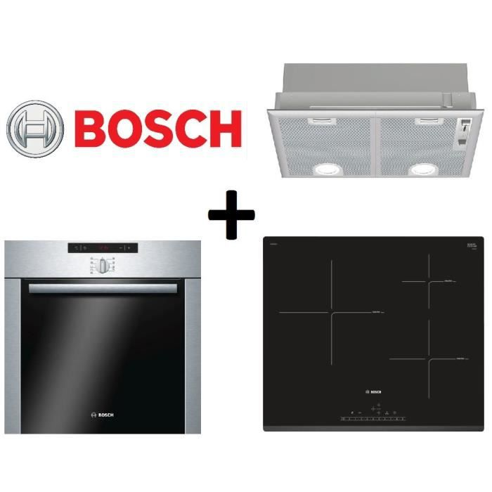 Four pack cuisson bosch hba64b252f four pyrolyse 60l inox for Table induction bosch