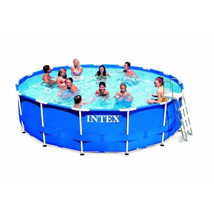 Intex kit piscine tubulaire ronde x m achat for Piscine ronde intex