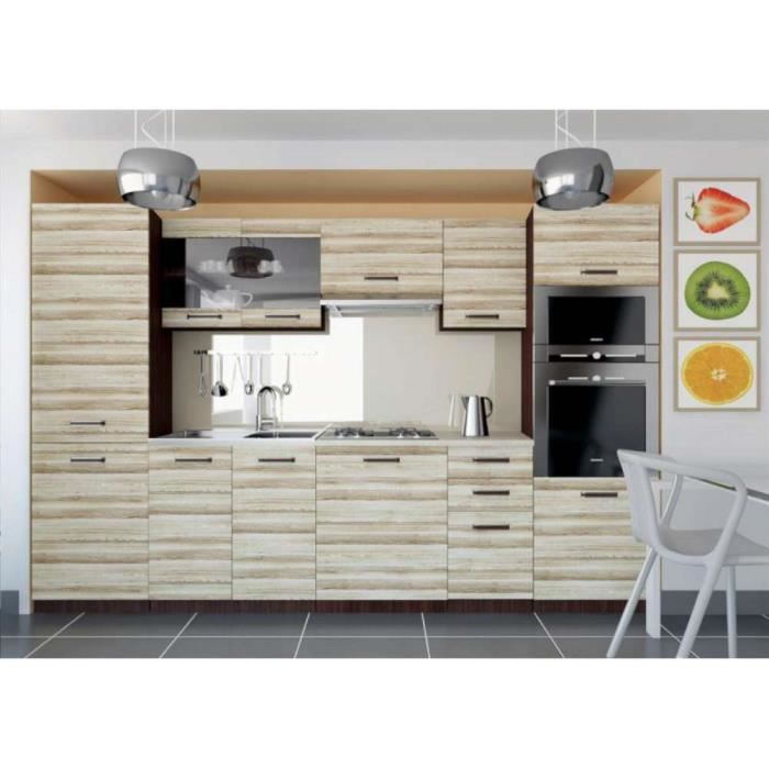 justhome syntka cuisine quip e compl te 300 cm couleur acacia achat vente cuisine compl te. Black Bedroom Furniture Sets. Home Design Ideas