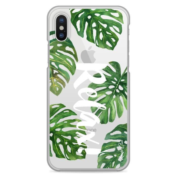 coque iphone x transparente motif tropical messag