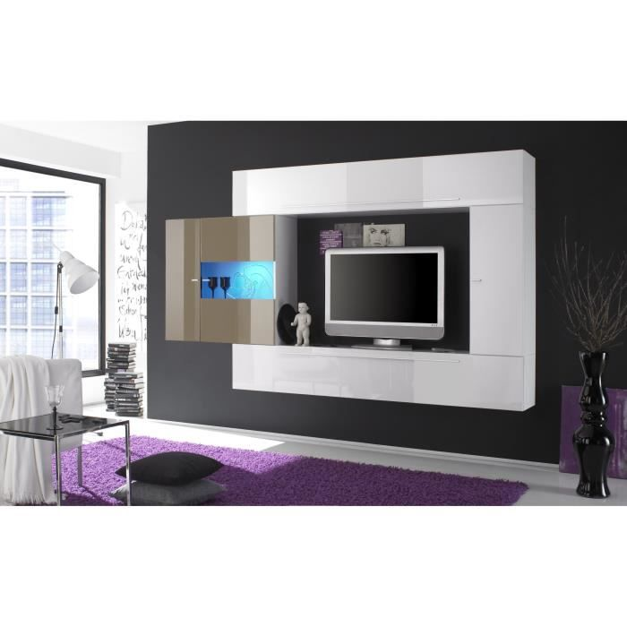 Composition tv murale design laqu e blanche cleopatre blanc achat vente m - Composition murale tv design ...