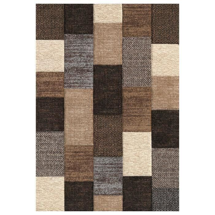 belis tapis de salon 80x150 cm marron et beige et gris. Black Bedroom Furniture Sets. Home Design Ideas
