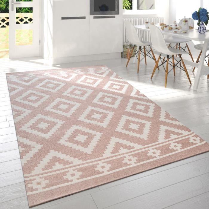 Tapis De Salon Moderne Poils Ras Design Scandinave Motif Losanges Rose  Blanc [60x110 cm]