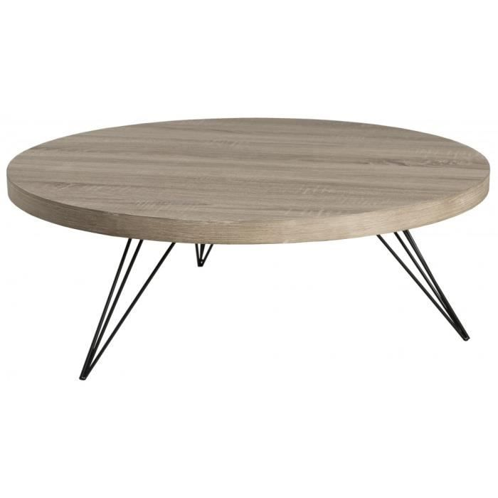 table basse ronde bois pieds m tal landaise achat. Black Bedroom Furniture Sets. Home Design Ideas