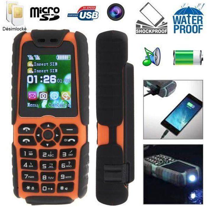 Téléphone portable Téléphone portable anti-choc tout terrain water...