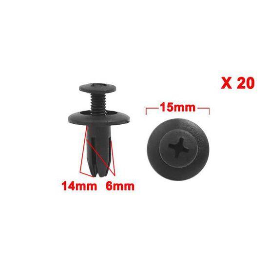 sourcingmap/® 20pcs 8mm Diam/ètre trou 25mm Rivets plastique t/ête Appuyer sur agrafes fixation pour voiture