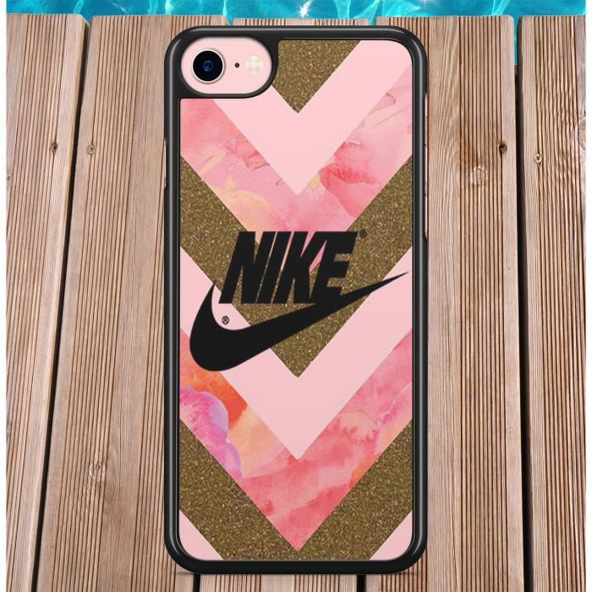 coque iphone 4 4s nike noir rose or logo gold just