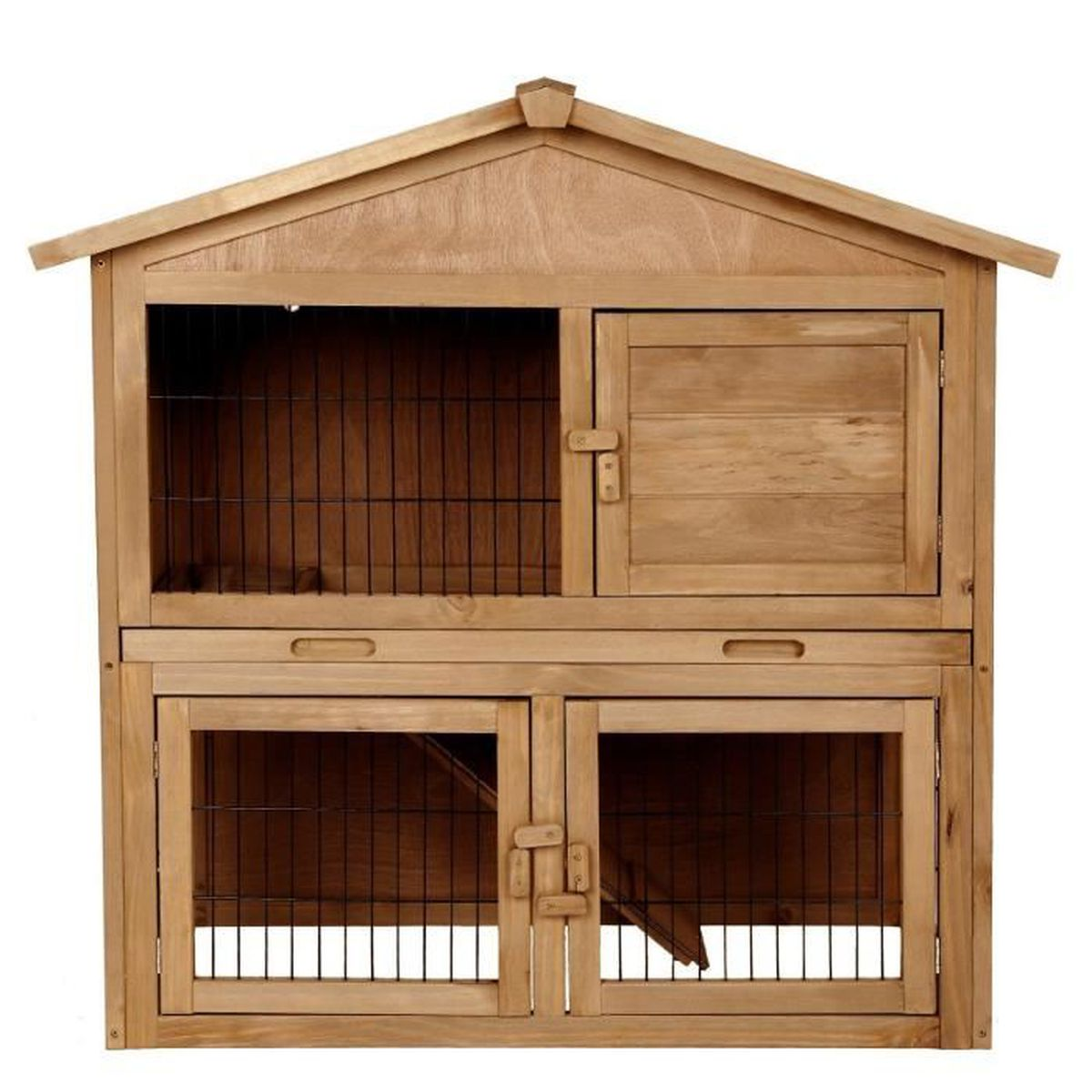 xxl bois clapier lapins cage lapin cabane cage plateau coulissant deux tages achat vente. Black Bedroom Furniture Sets. Home Design Ideas