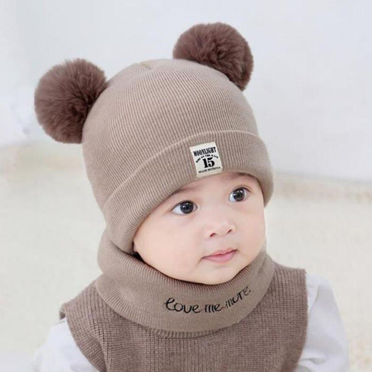 2PCS Set Bébé Enfants Robot Design Tricot Beanie Crochet Cap Chapeaux Avec écharpe