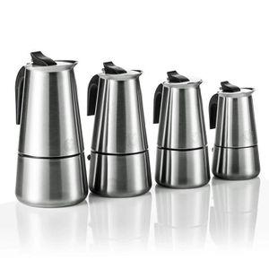 CAFETIÈRE - THÉIÈRE Cafetière à Expresso en Acier Inoxydable pour 2 4