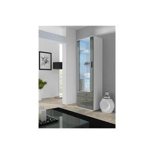 VITRINE - ARGENTIER Meuble vitrine design SANO - blanc et gris