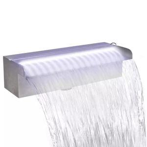 CASCADE - FONTAINE  Lame d'eau rectangulaire à LED 30 cm en acier inox