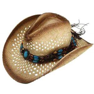 CHAPEAU - BOB Hommes D'été Raphia Creux Chapeau De Cowboy avec L