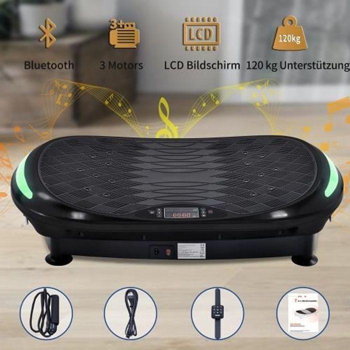 Plateforme Vibrante et Oscillante 4D Triples Moteurs Silencieux Bluetooth Fitness Idéal pour Fitness et Musculation--NOIR
